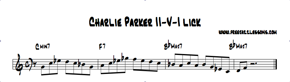 Charlie Parker Lick Lesson and Video